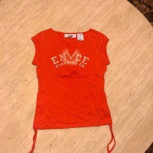 New ENYCE V Neck Logo Tee in Orange Size S/M